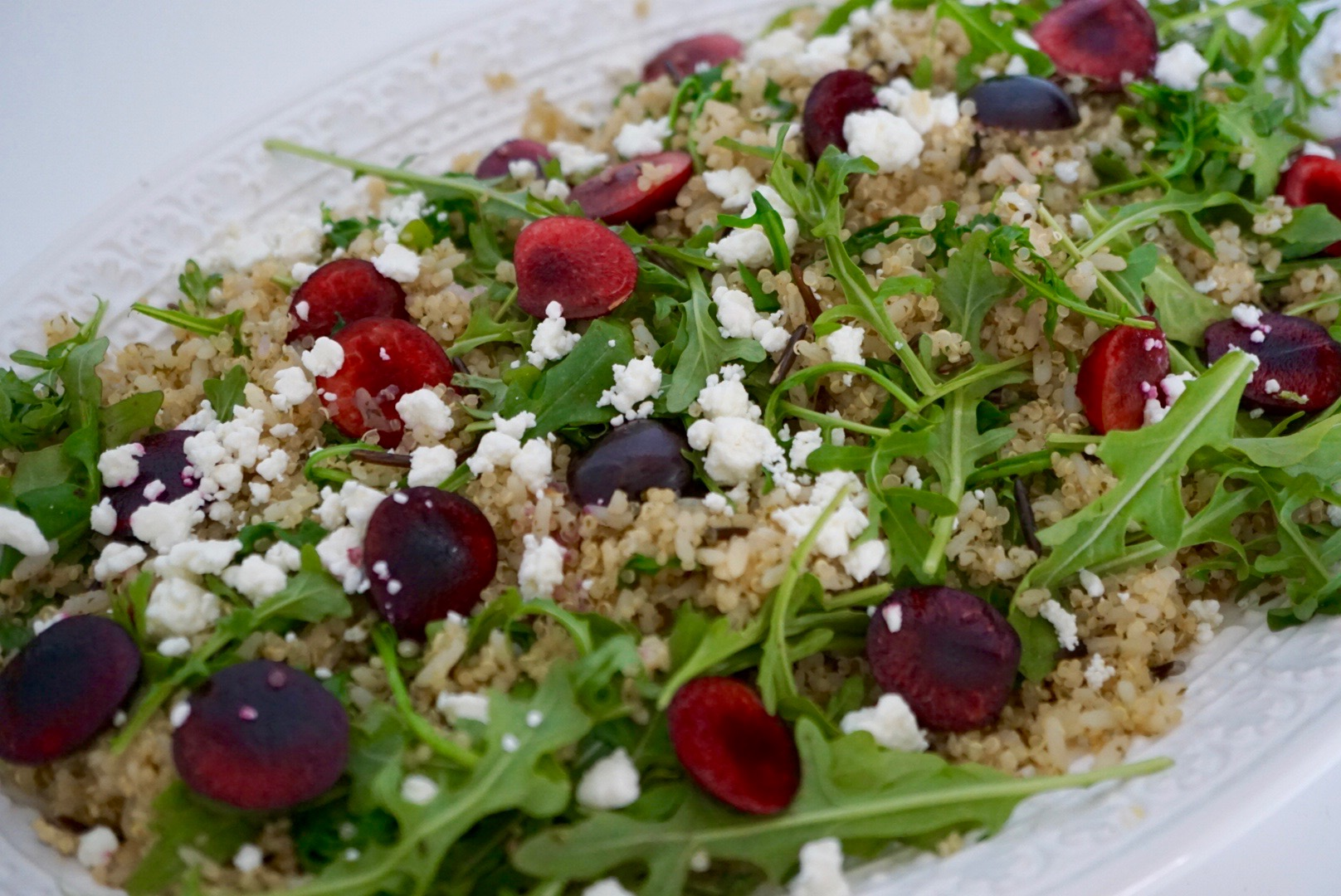 brown-rice-quinoa-cherry-goat-cheese-arugula-salad