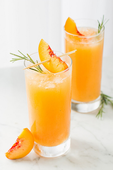 Grilled Peach Rosemary Prosecco