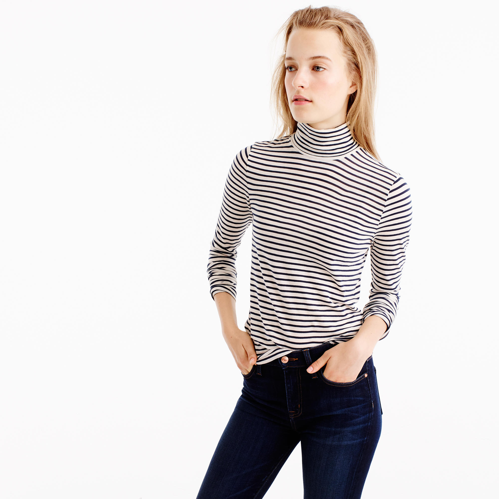 2e4c345d05 J.Crew Tissue Turtleneck T-shirt in Stripe $39.50. This striped staple is  the turtleneck of our dreams. It looks great on its own or under a smock  dress, ...