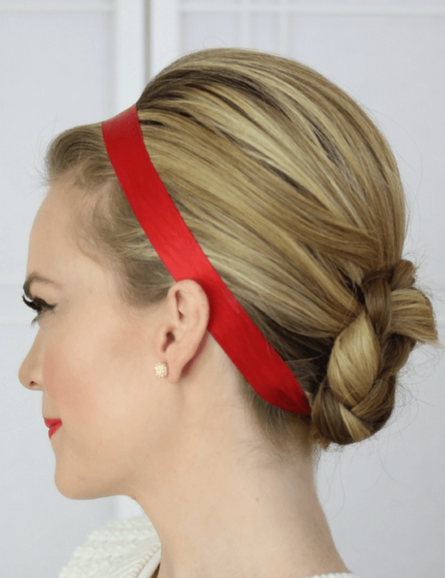Easy holiday hairstyles you can do yourself fabfitfun what could be more appropriate than a beautifully wrapped bun in red ribbon for the holidays this ribboned look is glam yet super easy to create for your solutioingenieria Gallery