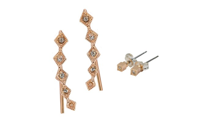 You Ll Be Smiling From Ear To In This Stunning Set Of Climbers And Studs It S Made Br Plated Rose Gold Adorned With Sparkling Stones