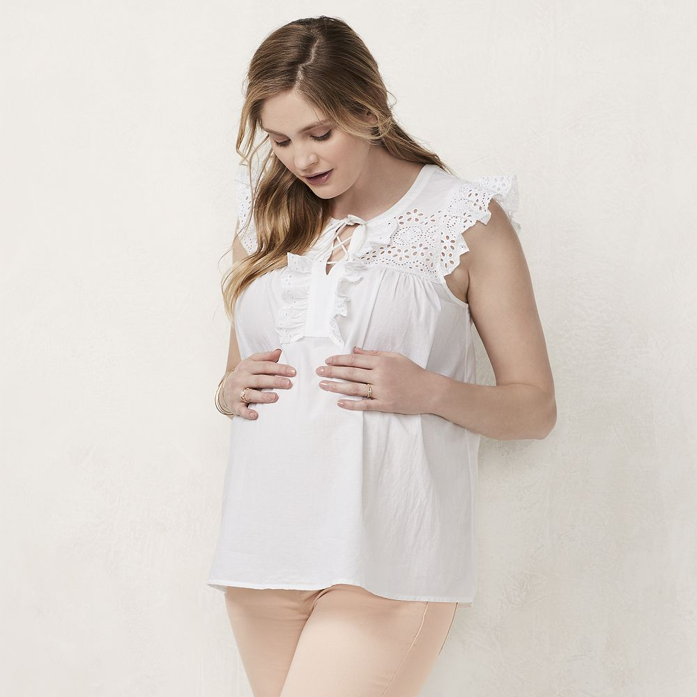 5bc8e03343c99 2899637_Marshmallow Maternity LC Lauren Conrad Eyelet Lace-Up Top $32.99