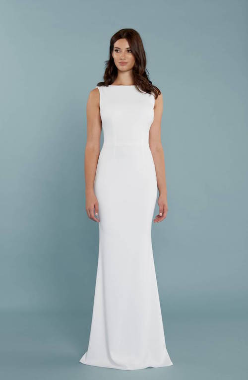 34a4ef984378 Katie May Drape Back Crepe Gown $295. We already loved the elegant design,  so when we saw the price, we were sold. This dress is great for the bride  who ...