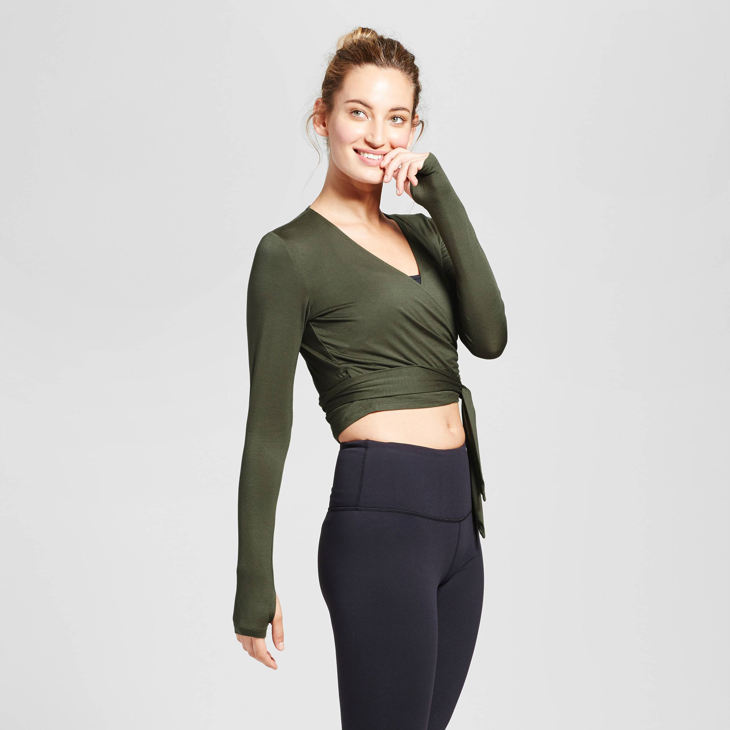 010052926c5bb JoyLab Women s Long Sleeve Wrap T-Shirt  19.99. This shirt gives off major  ballerina vibes and we can t get enough. The front tie helps you get the  perfect ...