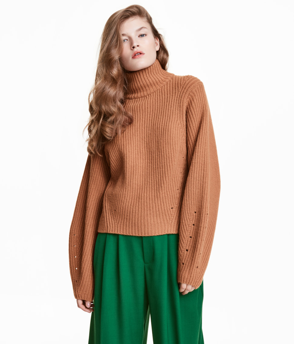 eb83b2256f H M Cashmere-Blend Sweater  59.99. What better way to stay nice and toasty  than in a cashmere-blend turtleneck  This camel sweater features wide  sleeves ...