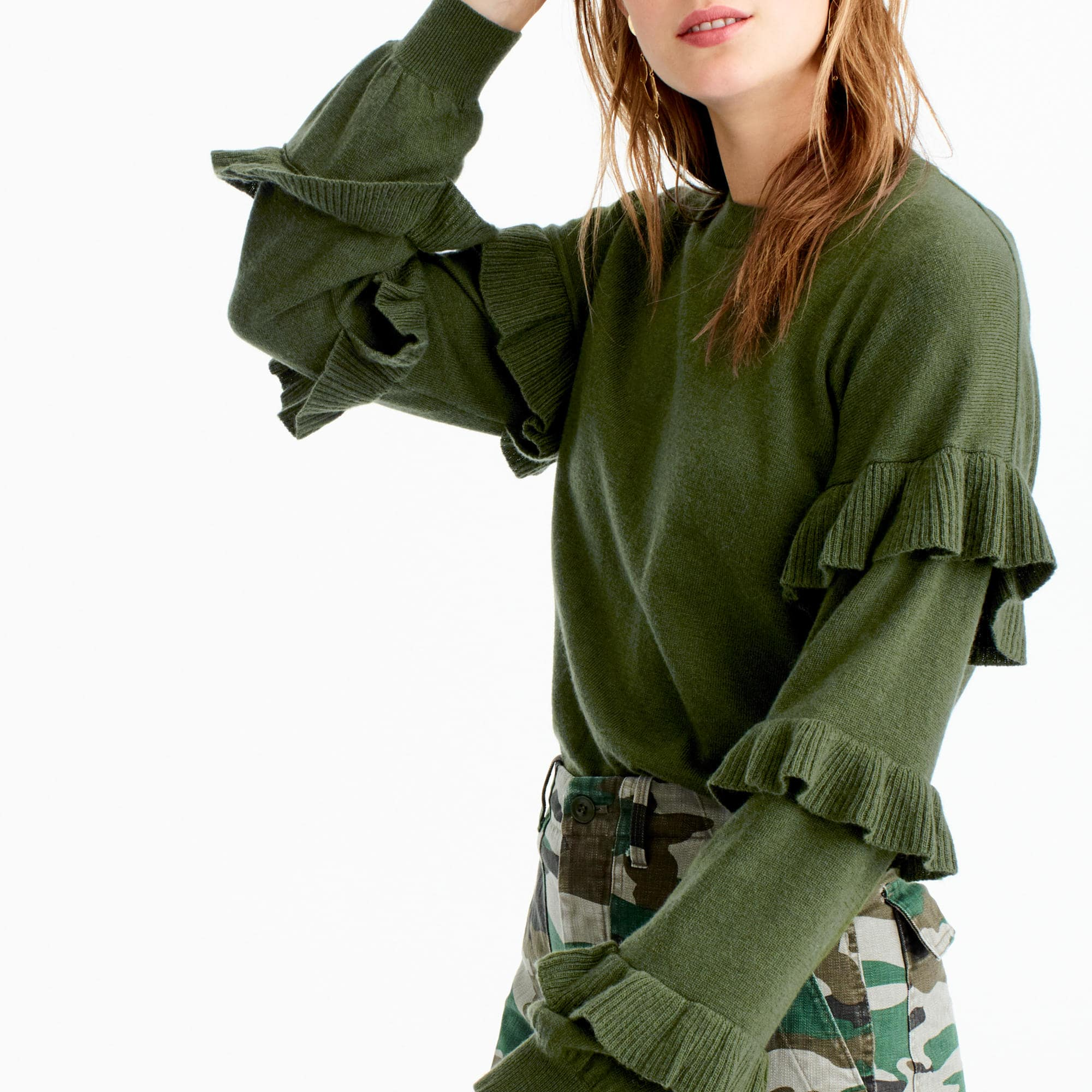 994a1e4b9 J.Crew Sweater With Ruffle Sleeves  54.50. Add ruffles to any clothing item  and it instantly becomes a fashion-forward piece. This one sports an extra  soft ...
