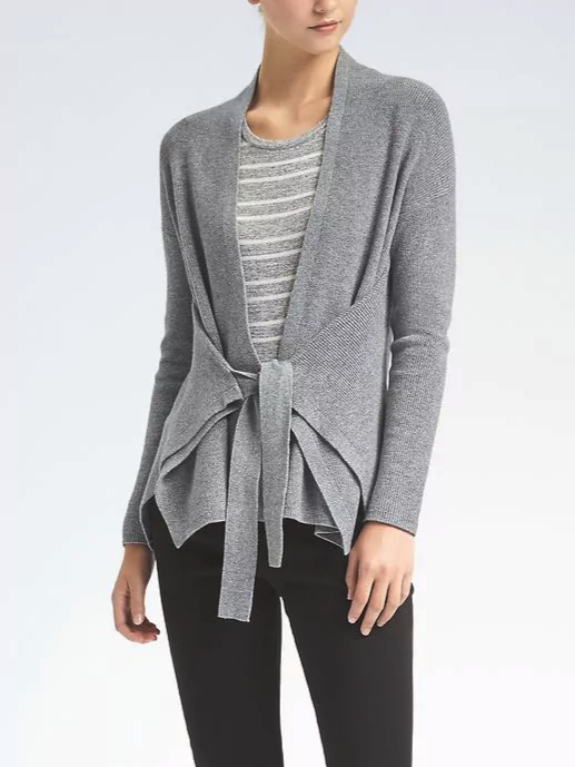 e2bcfd20a Need a new work sweater  Look no further than this tie-waist cardigan. The  neutral grey will pair well with anything in your wardrobe while ...