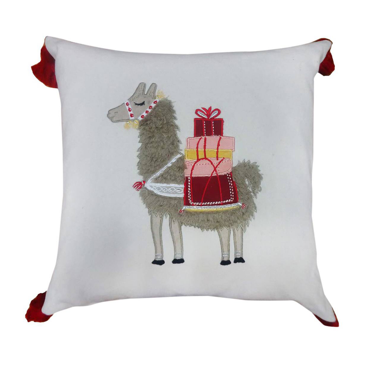 threshold embroidered llama throw pillow 1999 - Llama Christmas Decoration