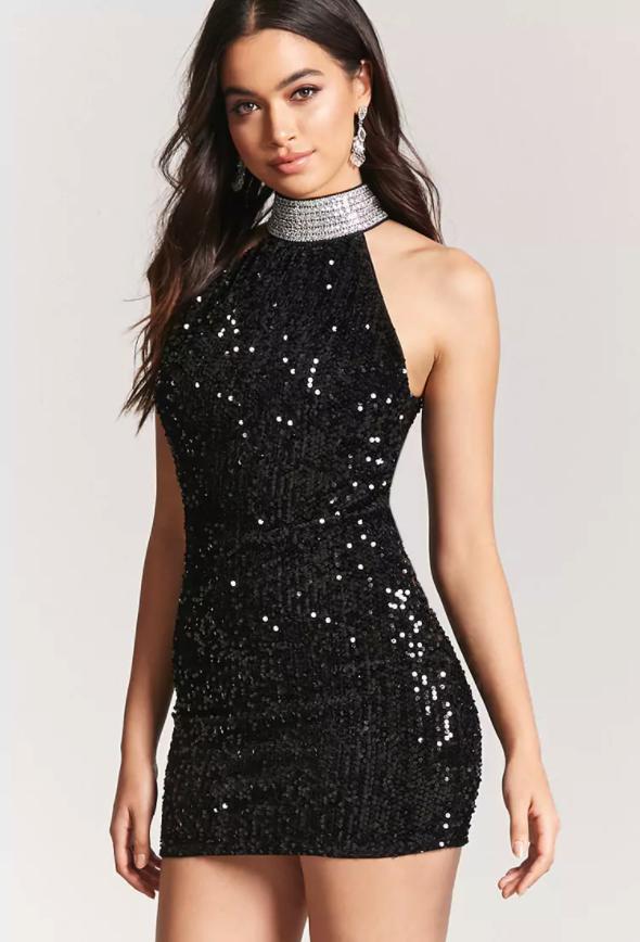 8503c2b374aec3 Forever 21 Velvet Faux Gem & Rhinestone Dress $29.90