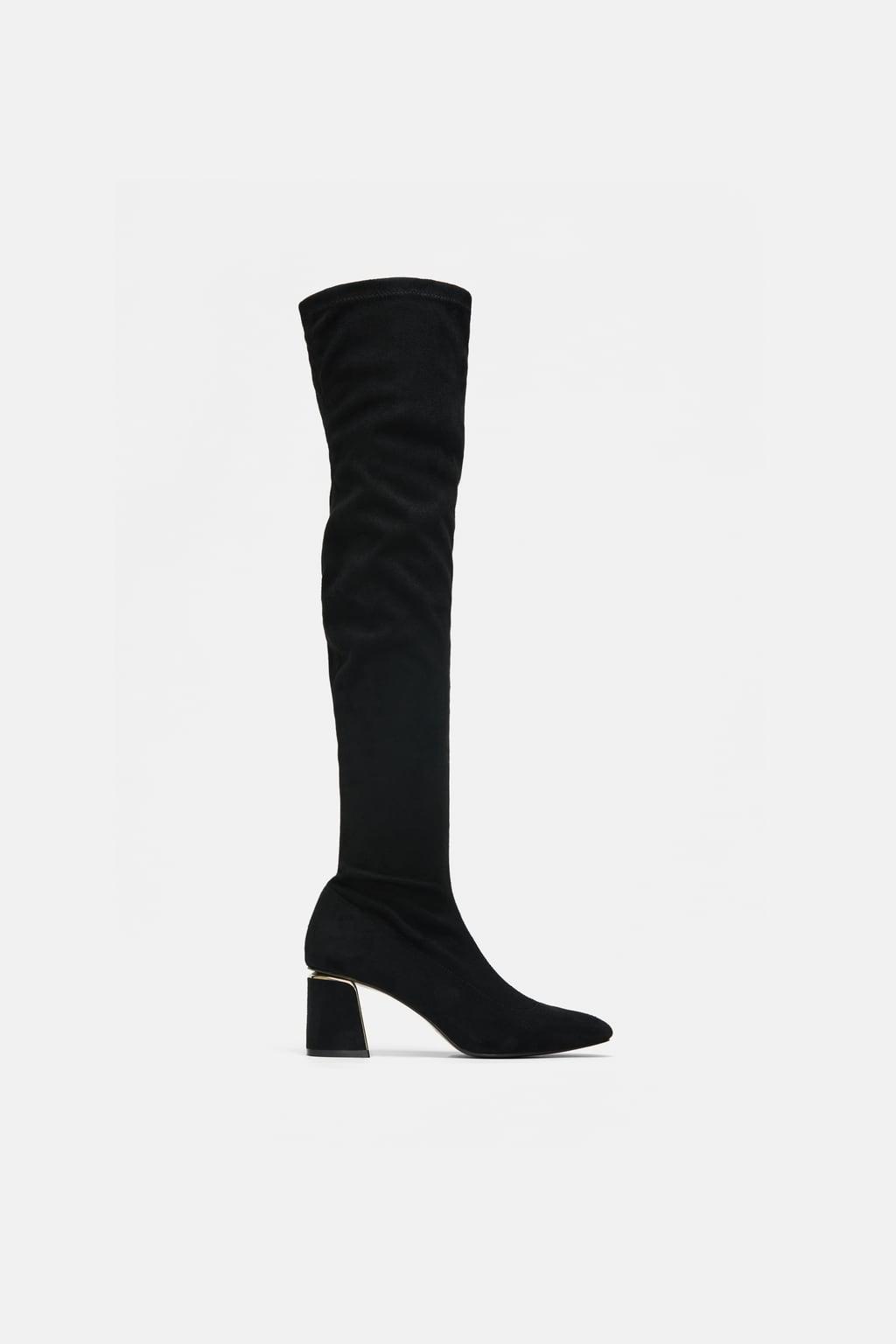 cec3f209d8d6 Zara Over-the-Knee Heeled Boots  89. We love the chunky heel ...